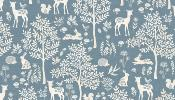 Tissu MAKOWER WOODLANDLAND Forest Blue