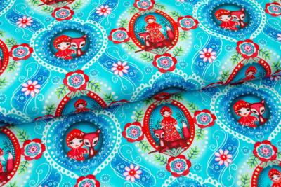 "COUPON Tissu FIona Hewitt ""Red Ridding BLUE"""