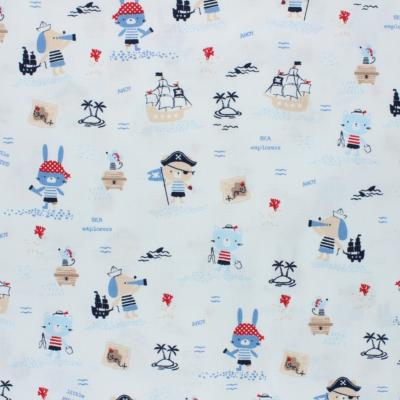 Tissu POPPY Pirates fond blanc
