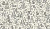 Tissu MAKOWER NOËL SCANDI Forest animal Grey