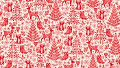 Tissu MAKOWER NOËL SCANDI Forest animal Red
